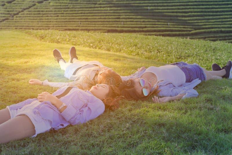 Lägger härlig flicka tre på den soliga gläntan med den smailen arkivfoton