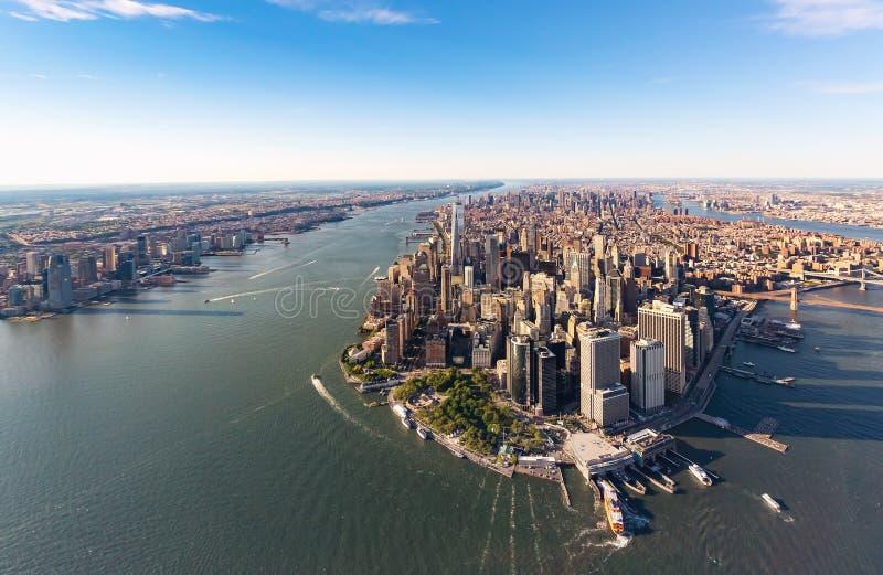 lägre manhattan för flyg- stad ny sikt york arkivfoton