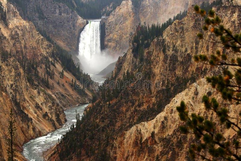Lägre nedgångar på Yellowstone parkerar royaltyfria bilder