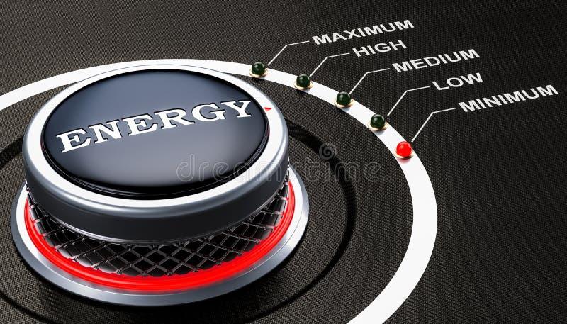Lägst nivå av energibegreppet, knopp framförande 3d vektor illustrationer