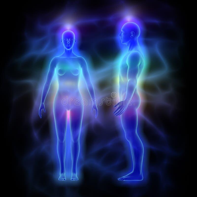 Läka energi, aura och chakras - kvinna och man stock illustrationer