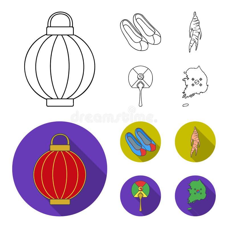 Läka rota, den koreanska ficklampan, medborgareskor, mång--färgad fan Sydkorea ställde in samlingssymboler i översikten, lägenhet royaltyfri illustrationer