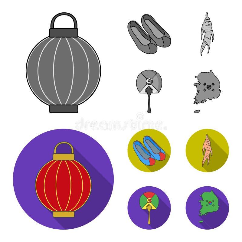Läka rota, den koreanska ficklampan, medborgareskor, mång--färgad fan Sydkorea ställde in samlingssymboler i monokrom, lägenhet vektor illustrationer