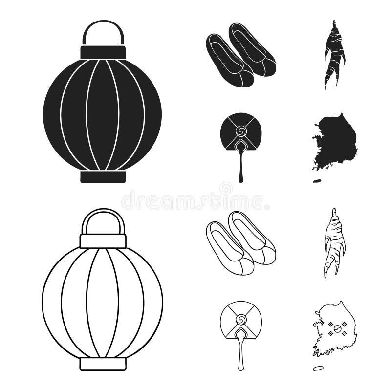 Läka rota, den koreanska ficklampan, medborgareskor, mång--färgad fan Sydkorea ställde in samlingssymboler i svart, översikt vektor illustrationer