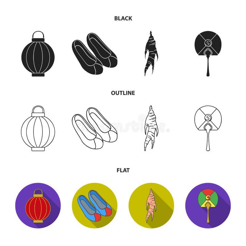 Läka rota, den koreanska ficklampan, medborgareskor, mång--färgad fan Sydkorea ställde in samlingssymboler i svart, lägenhet royaltyfri illustrationer