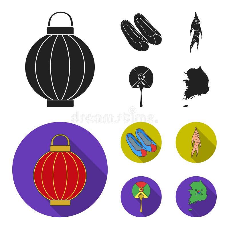 Läka rota, den koreanska ficklampan, medborgareskor, mång--färgad fan Sydkorea ställde in samlingssymboler i svart, lägenhetstil royaltyfri illustrationer