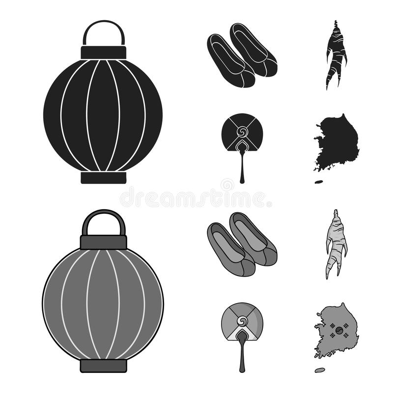 Läka rota, den koreanska ficklampan, medborgareskor, mång--färgad fan Sydkorea ställde in samlingssymboler i svart, monokrom royaltyfri illustrationer