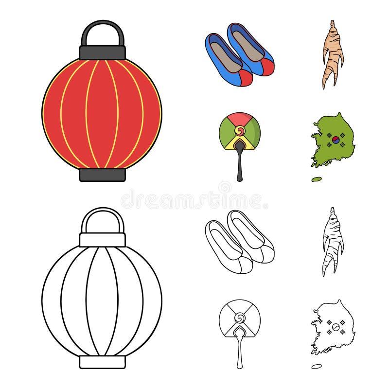 Läka rota, den koreanska ficklampan, medborgareskor, mång--färgad fan Sydkorea ställde in samlingssymboler i tecknade filmen, öve stock illustrationer