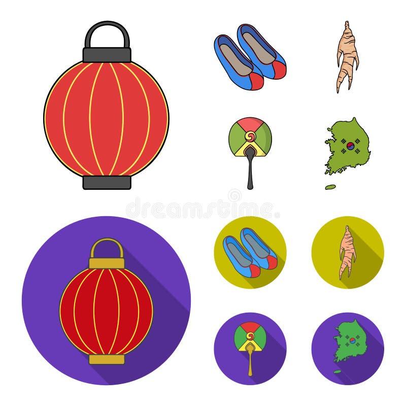Läka rota, den koreanska ficklampan, medborgareskor, mång--färgad fan Sydkorea ställde in samlingssymboler i tecknade filmen, läg vektor illustrationer