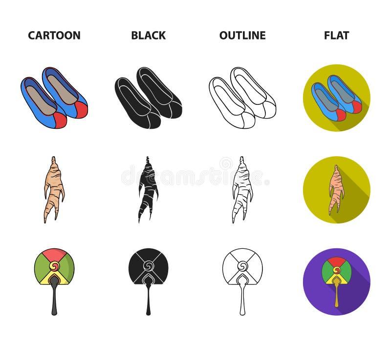 Läka rota, den koreanska ficklampan, medborgareskor, mång--färgad fan Sydkorea ställde in samlingssymboler i tecknade filmen, sva royaltyfri illustrationer