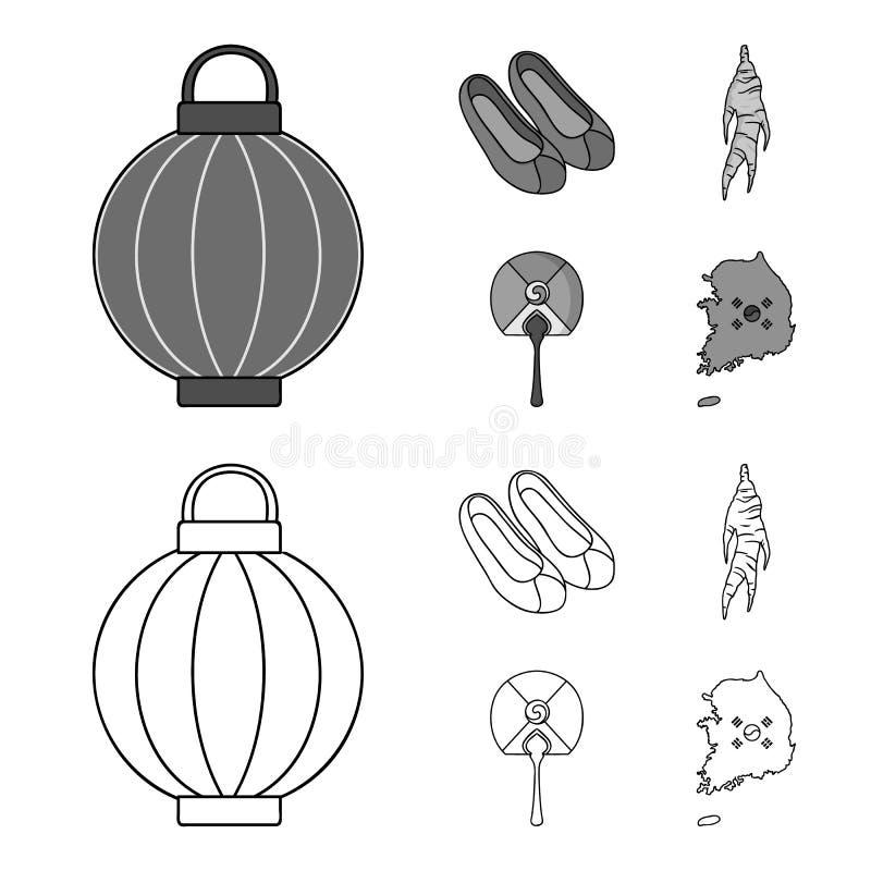 Läka rota, den koreanska ficklampan, medborgareskor, mång--färgad fan Symboler för Sydkorea uppsättningsamling i översikt vektor illustrationer