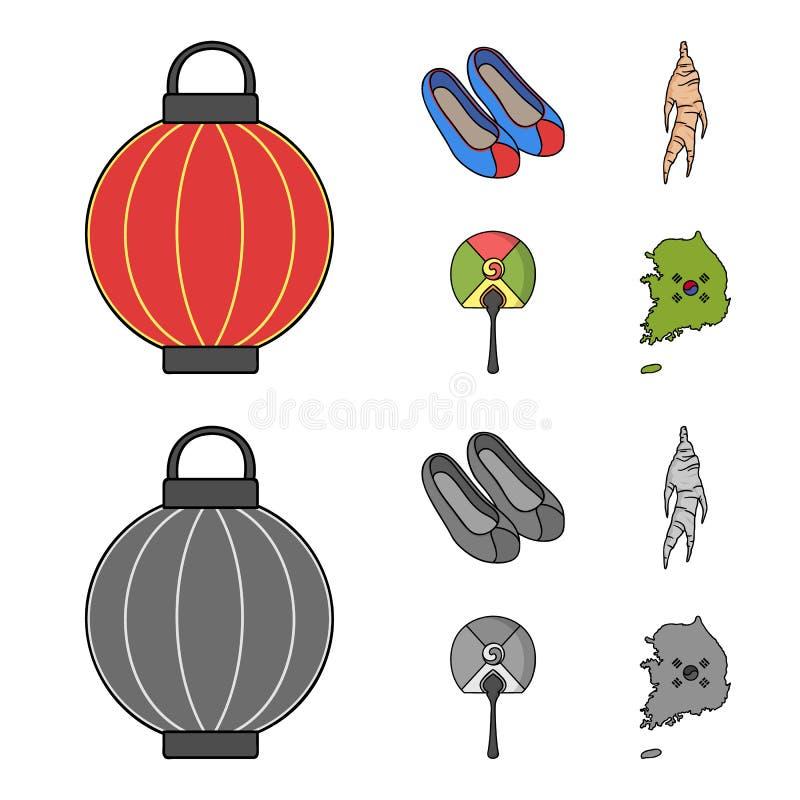 Läka rota, den koreanska ficklampan, medborgareskor, mång--färgad fan Symboler för Sydkorea uppsättningsamling i tecknad film vektor illustrationer