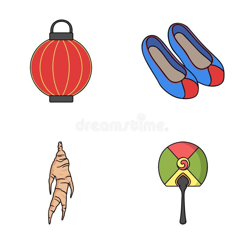 Läka rota, den koreanska ficklampan, medborgareskor, mång--färgad fan Symboler för Sydkorea uppsättningsamling i tecknad filmstil stock illustrationer