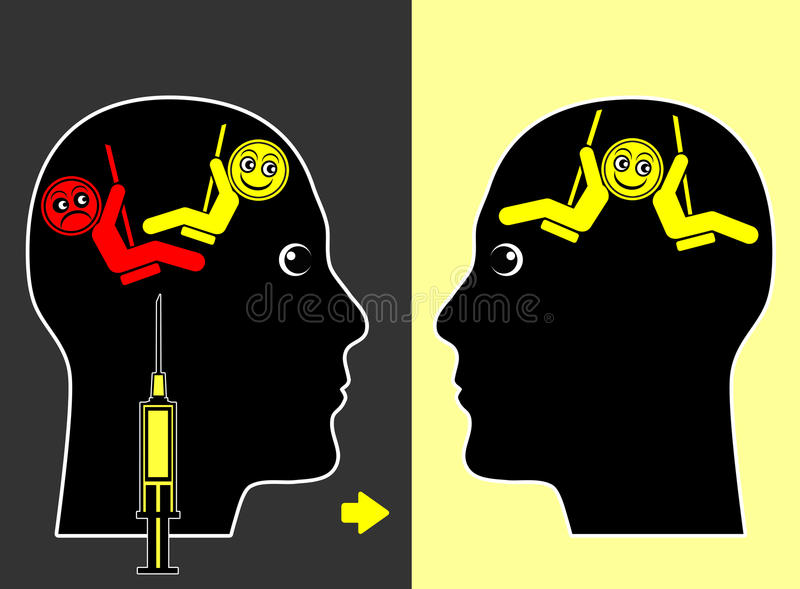 Läkarbehandling för lynnegungor royaltyfri illustrationer