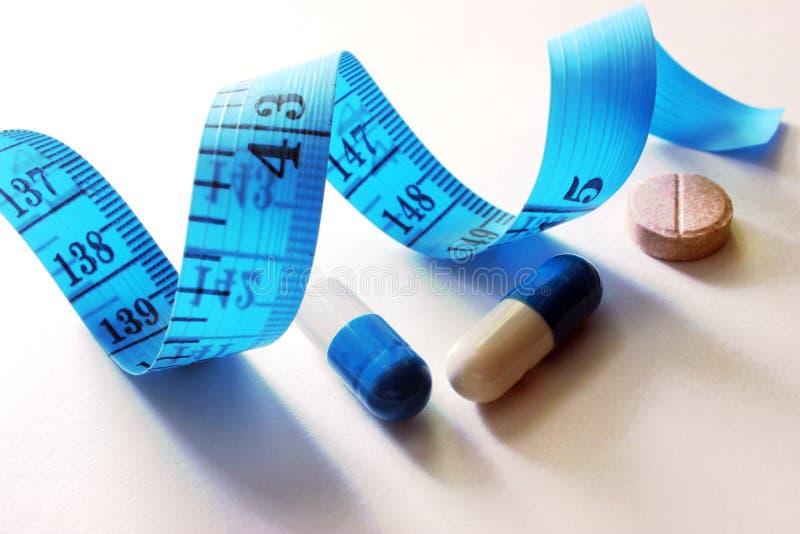 Läkarbehandling för viktförlust, meter - en apparat för att mäta längd royaltyfri fotografi