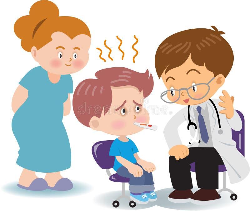 Läkarundersökning av feber med pojkar royaltyfria bilder