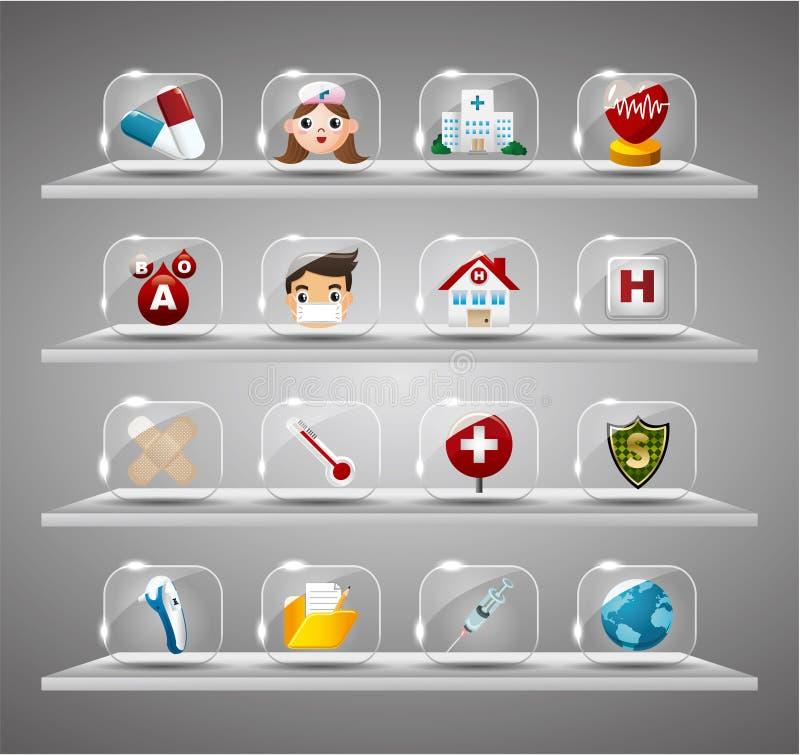 läkarundersökning för härd för buttotecknad film genomskinlig glass stock illustrationer