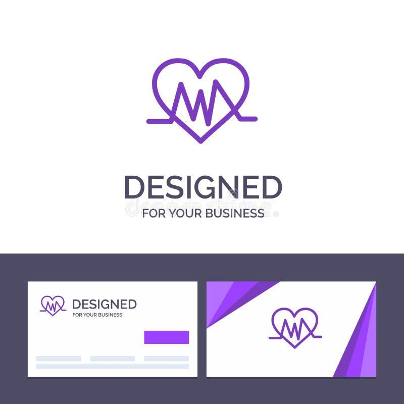 Läkarundersökning för idérik mall för affärskort och logo, hjärta, hjärtslag, pulsvektorillustration stock illustrationer