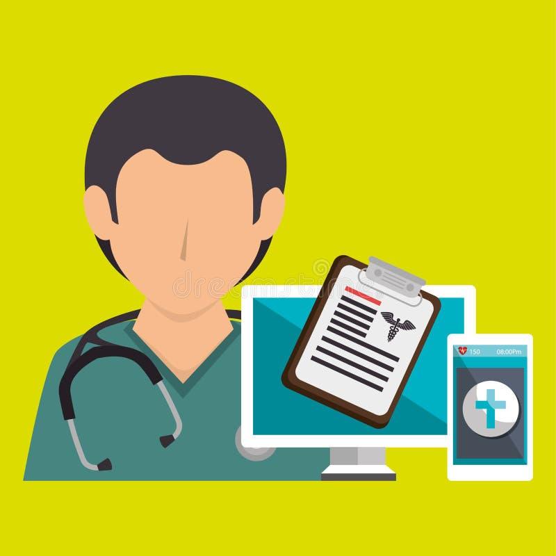 läkarundersökning för sjuksköterskadoktorsbärbar dator vektor illustrationer