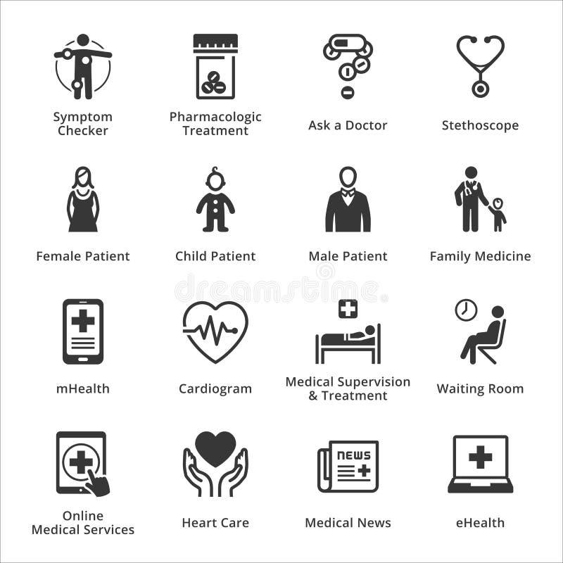 Läkarundersökning- & hälsovårdsymboler - uppsättning 2 stock illustrationer