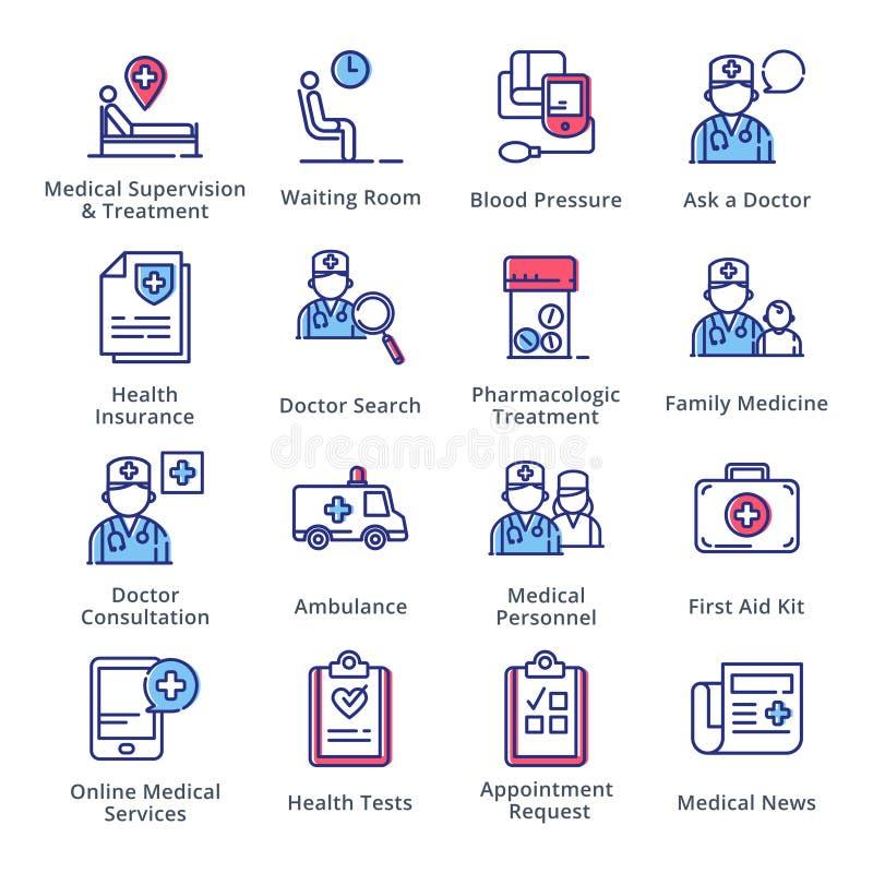 Läkarundersökning- & hälsovårdsymbolsuppsättning 2 - översiktsserie stock illustrationer