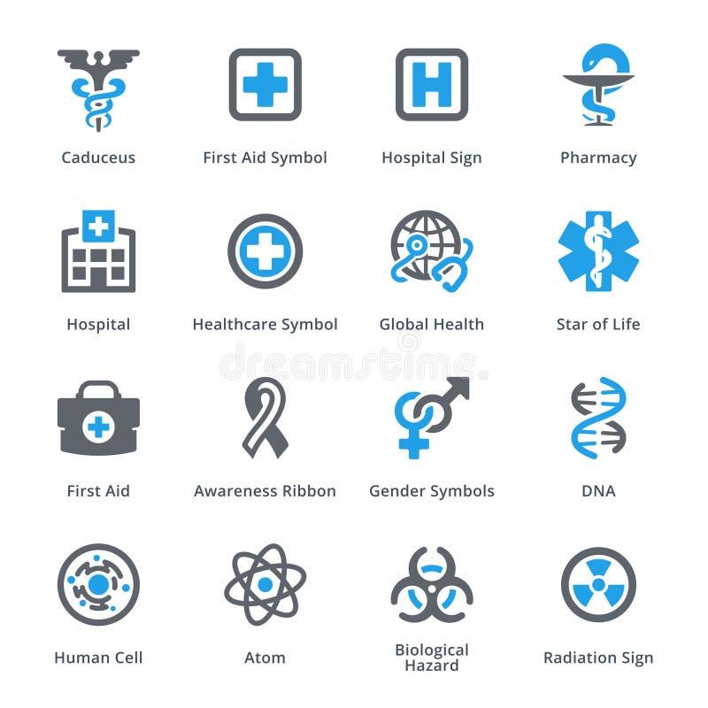 Läkarundersökning- & hälsovårdsymbolsuppsättning 1 stock illustrationer