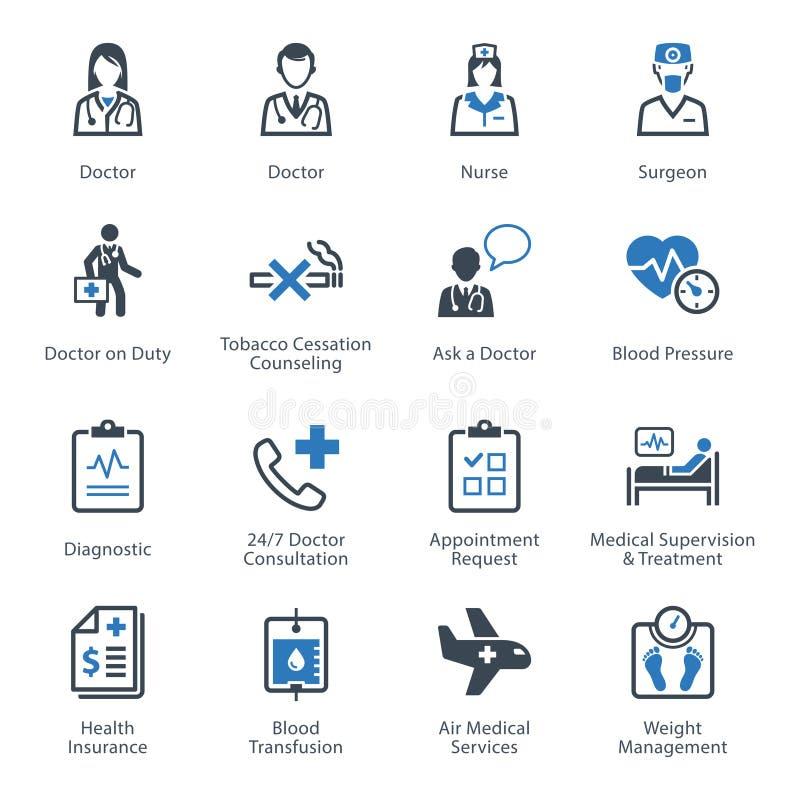Läkarundersökning- & hälsovårdsymbolsuppsättning 2 - service royaltyfri illustrationer
