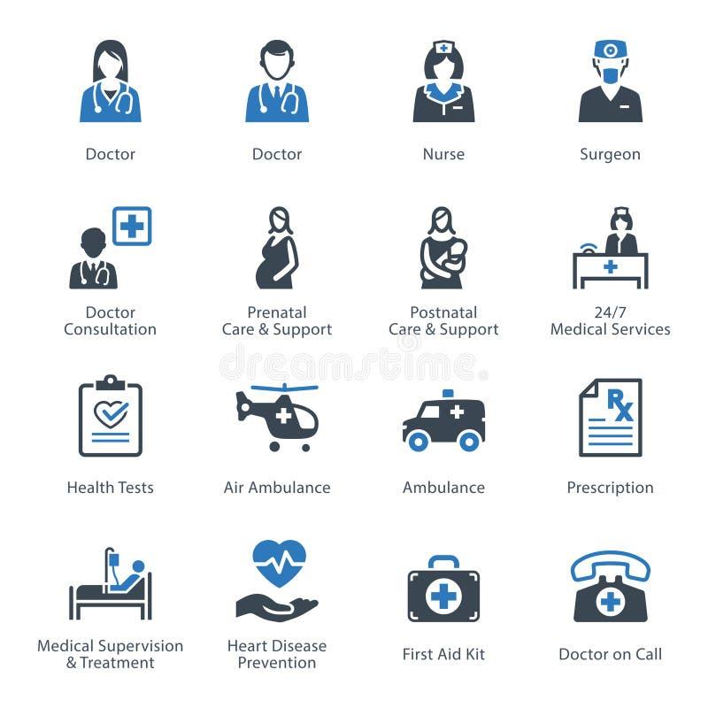 Läkarundersökning- & hälsovårdsymbolsuppsättning 1 - service stock illustrationer