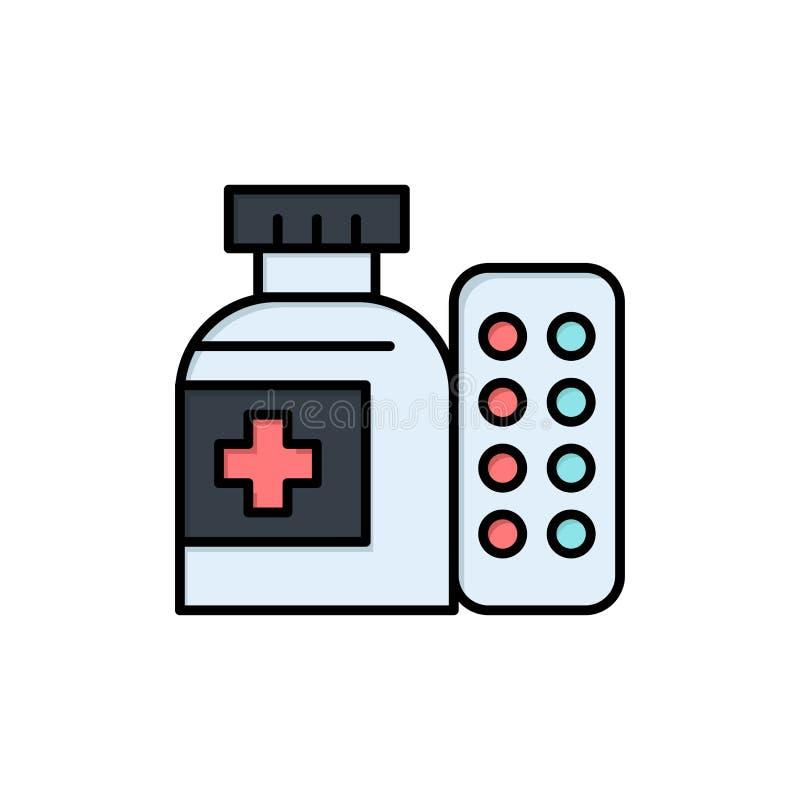 Läkarundersökning medicin, piller, plan färgsymbol för sjukhus Mall för vektorsymbolsbaner stock illustrationer