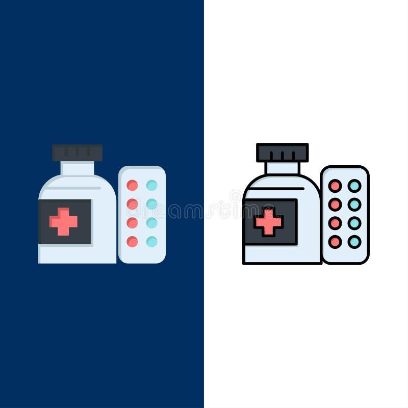 Läkarundersökning medicin, piller, sjukhussymboler Lägenheten och linjen fylld symbol ställde in blå bakgrund för vektorn royaltyfri illustrationer