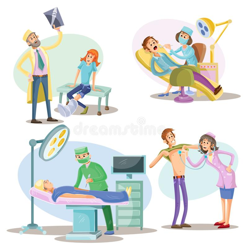 Läkarundersökning- och behandlingvektorillustration av patienter och doktorer på sjukhuskirurgen, tandläkaren och terapeuten royaltyfri illustrationer