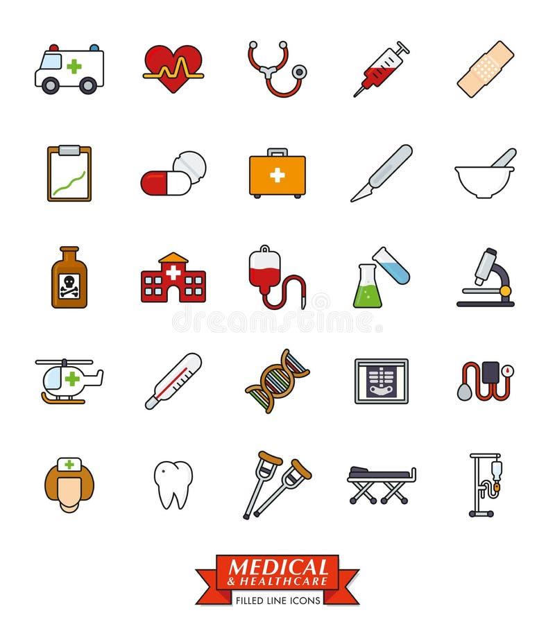 Läkarundersökning och hälsovård fylld linje symbolsuppsättning stock illustrationer