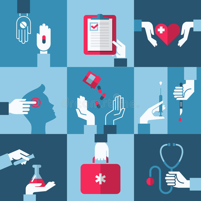 Läkarundersökning- och hälsovårddesignbeståndsdelar. Vektorillustration stock illustrationer