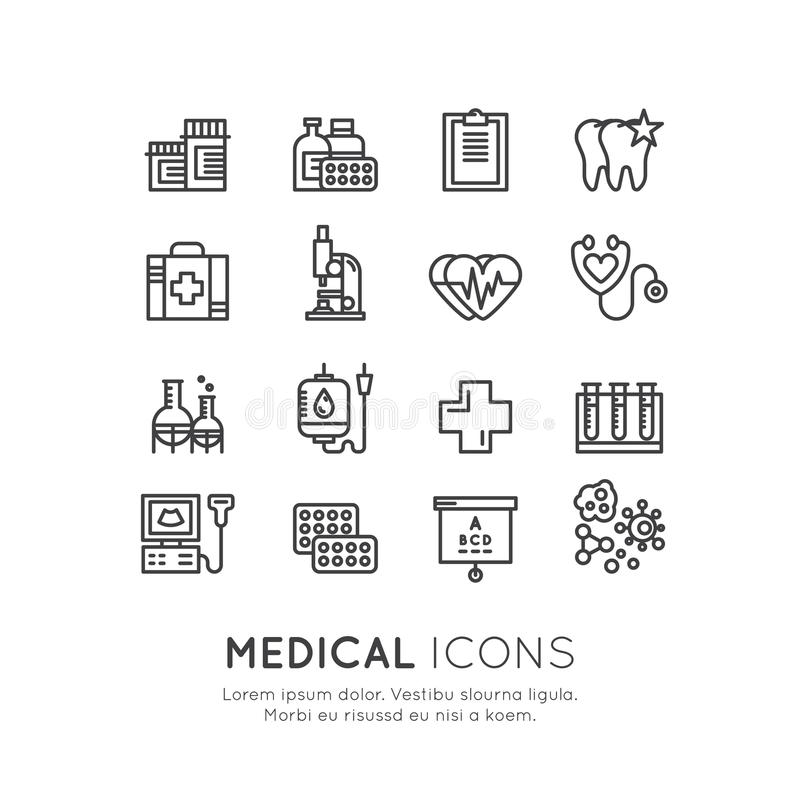 Läkarundersökning- och sjukvårdforskningobjekt, försäkring, MRI, bildläsning, kontroll-Uppformer, blodprovning stock illustrationer