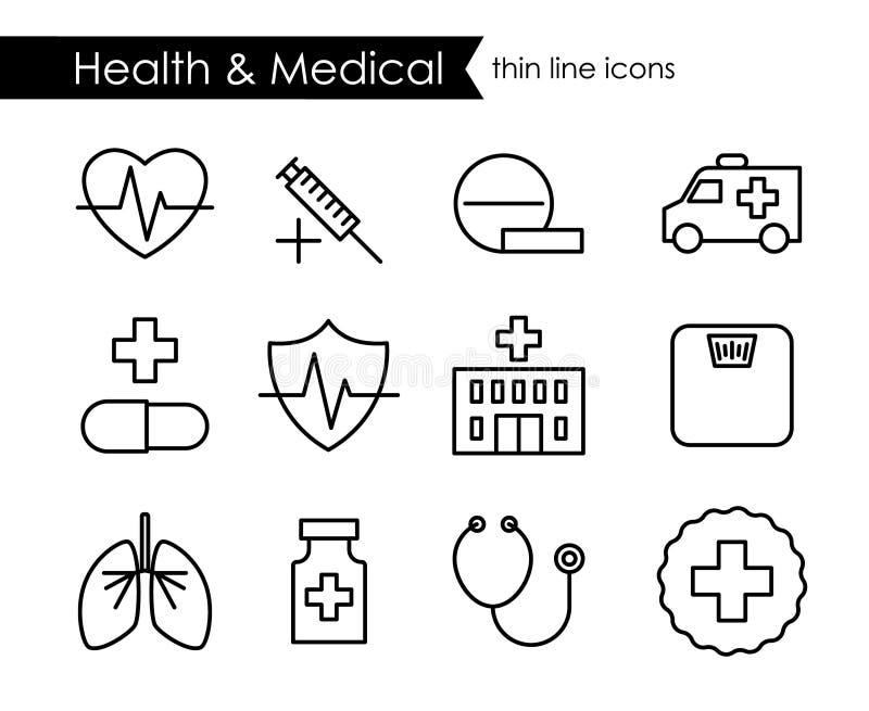 Läkarundersökning och vård- tunn linje symbolsuppsättning vektor illustrationer