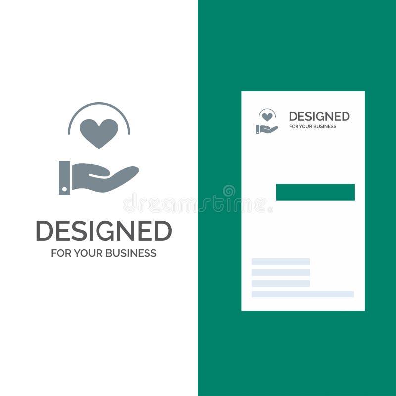 Läkarundersökning, omsorg, hjärta, hand Grey Logo Design och mall för affärskort stock illustrationer