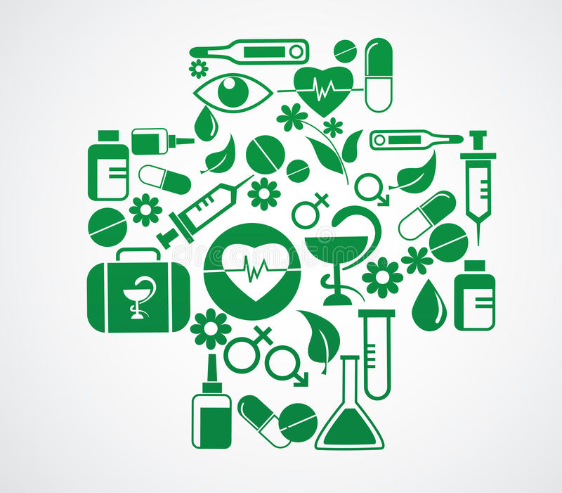 Läkarundersökning som är arg med vård- symbolsuppsättning på vit royaltyfri illustrationer