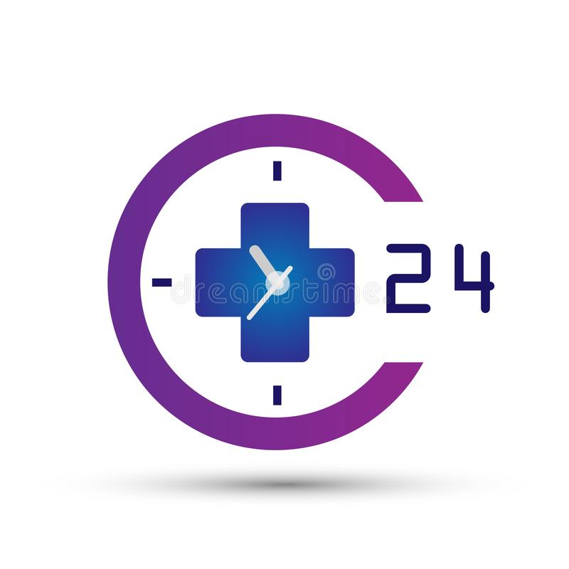 Läkarundersökning 24 timmar beståndsdel för klocka för hälsovårdlogosymbol för företag på vit bakgrund stock illustrationer