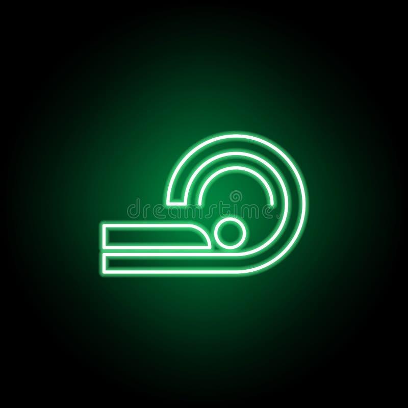 Läkarundersökning tomographysymbol i neonstil Best?ndsdel av medicinillustrationen Tecknet och symbolsymbolen kan anv?ndas f?r re stock illustrationer