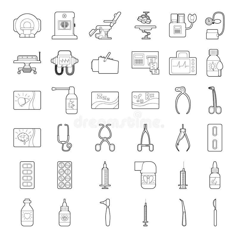 Läkarundersökningen bearbetar utrustningsymboler ställde in, skisserar stil stock illustrationer