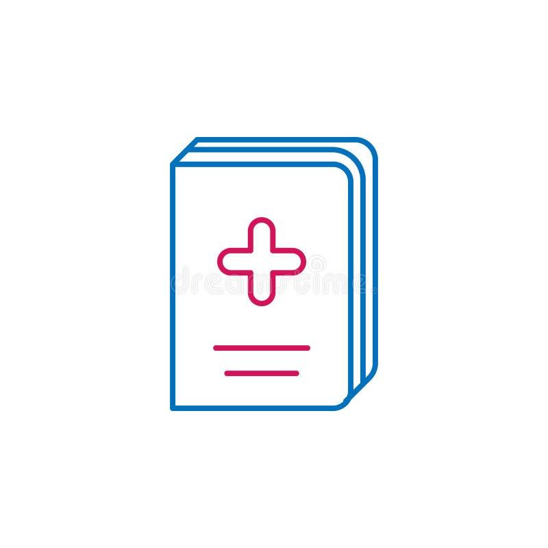 Läkarundersökningen boken, medicin färgade symbolen Beståndsdel av medicinillustrationen Tecknet och symbolsymbolen kan användas  royaltyfri illustrationer