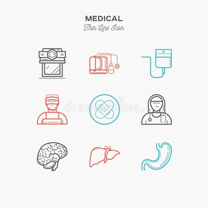 Läkarundersökningen sjukhuset, doktorn, sjuksköterska, den tunna linjen färgsymboler ställde in, vec stock illustrationer