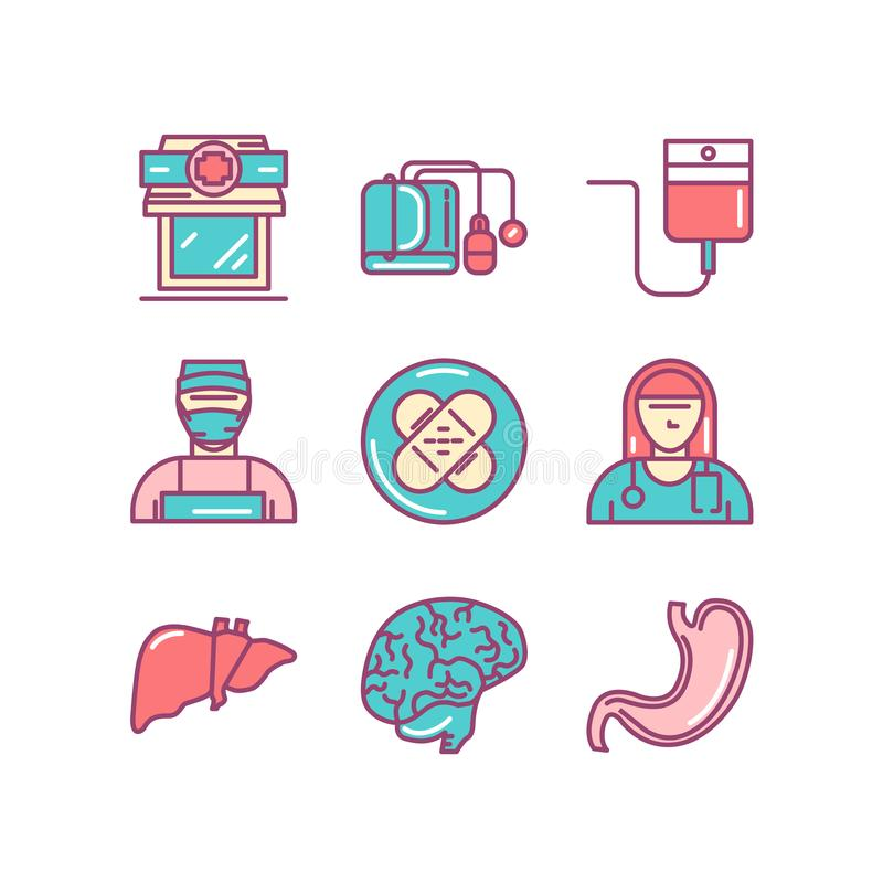 Läkarundersökningen sjukhuset, doktorn, sjuksköterska, den tunna linjen färgsymboler ställde in, vec royaltyfri illustrationer