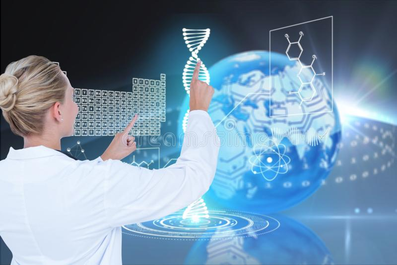 Läkarundersökningmodeller mot DNAdiagrambakgrunder fotografering för bildbyråer