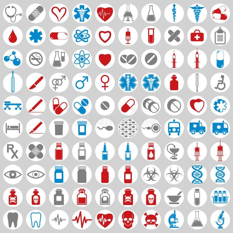 läkarundersökningset för 100 symboler royaltyfri illustrationer