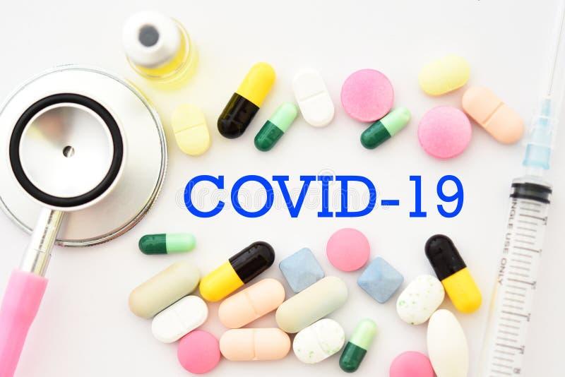 Läkemedel för behandling av COVID- 19 royaltyfri fotografi