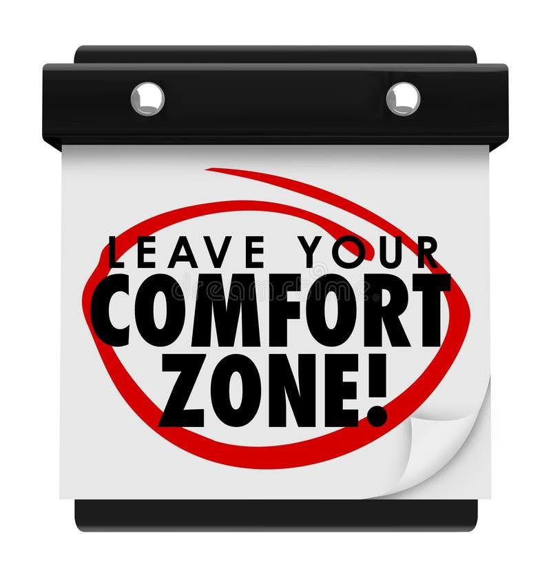 Lämna din kalender för ord för komfortzonen ny erfarenhet vektor illustrationer