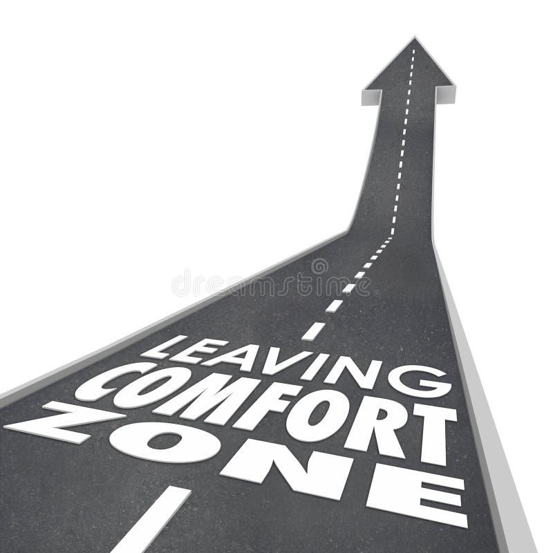 Lämna vägen för ord för komfortzonen väx förhöjning ny erfarenhet stock illustrationer