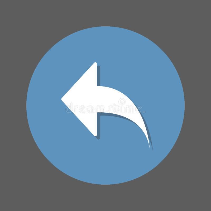 Lämnad pil, plan symbol för svar Rund färgrik knapp, runt vektortecken med skuggaeffekt Plan stildesign vektor illustrationer