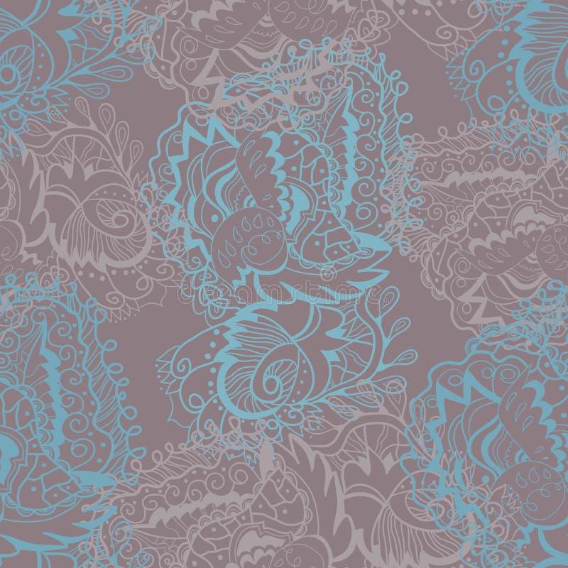Lämnar blommar sömlös textur för vektorn med krullade abstrakta element och stock illustrationer